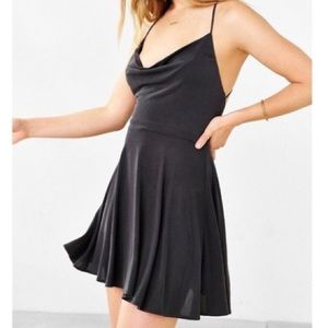Silence and Noise Charcoal Open Back Skater Dress
